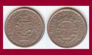 MOZAMBIQUE 1955 2 1/2 ESCUDOS COIN KM#78 Portuguese Republic Africa