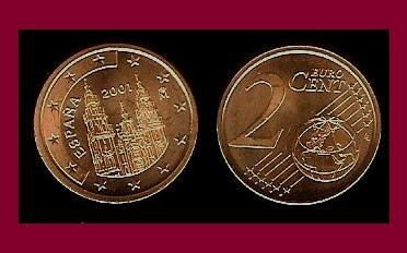 Spain 2001 2 Euro Cent Coin Km 1041 Europe Cathedral Of