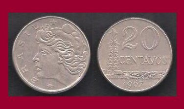 BRAZIL 1967 20 CENTAVOS COIN KM#579.1 South America - Oil Well Derrick