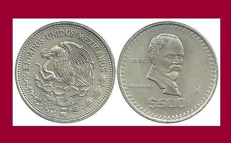 Mexico 1988 500 Pesos Coin Km 529 Xf Francisco Ignacio