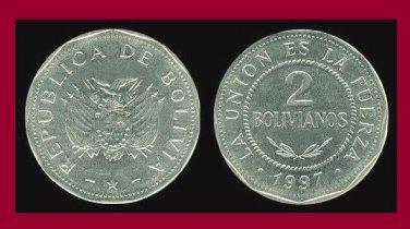 BOLIVIA 1997 2 BOLIVIANOS COIN KM#206.2 South America - Hendecagon - RARE!