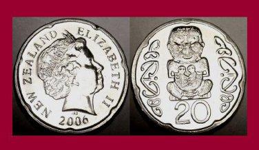 NEW ZEALAND 2006 20 CENTS COIN KM#118a Oceania - AU BEAUTIFUL! - Maori Chief Pukaki