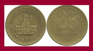 ARGENTINA 1992 25 CENTAVOS COIN KM#110.1 South America - Buenos Aires City Hall