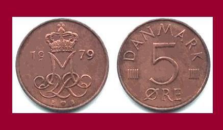 DENMARK 1979 5 ORE COIN KM#859.2 Europe - Queen Margrethe II