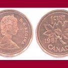 CANADA 1987 1 CENT COPPER COIN KM#132 North America - XF