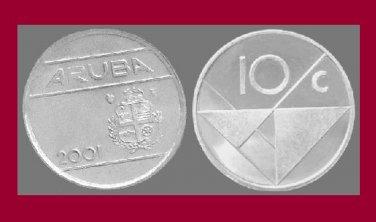 ARUBA 2001 10 CENTS COIN KM#2 Caribbean - BU - BEAUTIFUL! LOW MINTAGE!