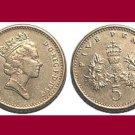 England United Kingdom Great Britain UK 1990 5 PENCE COIN KM#937b - BU - BEAUTIFUL!