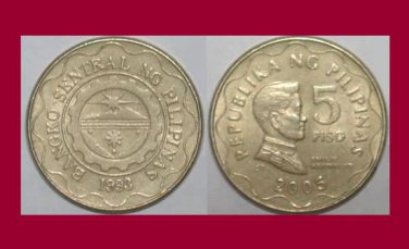 PHILIPPINES 2005 5 PISO COIN KM#272 Southeast Asia - XF - General Aguinaldo