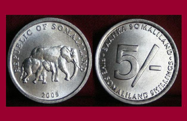 SOMALILAND 2005 5 SHILLINGS COIN KM#19 Africa - Mother and Baby Elephant