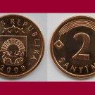 LATVIA 2009 2 SANTIMI COIN KM#21 Europe ~ BEAUTIFUL!