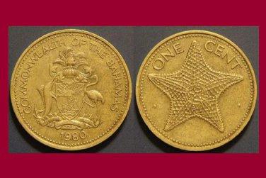 BAHAMAS 1980 1 CENT BRASS COIN KM#59 Starfish Caribbean