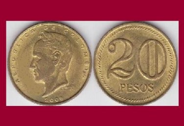 COLOMBIA 2005 20 PESOS BRASS COIN KM#294 South America