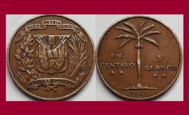 DOMINICAN REPUBLIC 1961 1 CENTAVO BRONZE COIN KM#17 Caribbean - Palm Tree