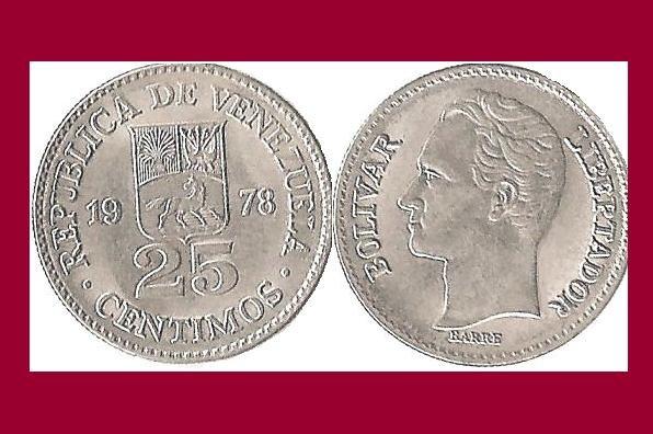 VENEZUELA 1978 25 CENTIMOS COIN Y#50.2 South America - BU - BEAUTIFUL!