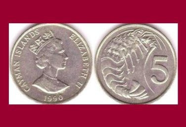 CAYMAN ISLANDS 1990 5 CENTS COIN KM#88 Caribbean Pink-spotted Shrimp - BU - BEAUTIFUL!