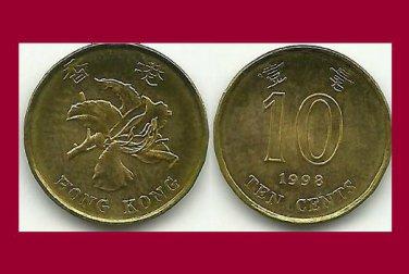 HONG KONG 1998 10 CENTS COIN KM#66 Asia Bauhinia Flower