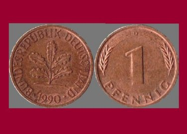 WEST GERMANY 1990(D) 1 PFENNIG COIN KM#105 Europe - Federal Republic of Germany