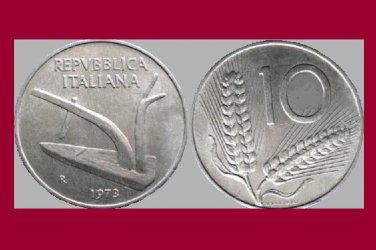 ITALY 1973 10 LIRE COIN KM#93 Europe - Plow - BU - BEAUTIFUL!