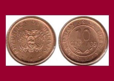 BOLIVIA 2006 10 CENTAVOS COIN KM#213 South America