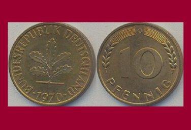 WEST GERMANY 1970 (G) 10 PFENNIG COIN KM#108 Europe - Federal Republic of Germany