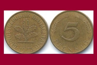 WEST GERMANY 1973 (G) 5 PFENNIG COIN KM#107 Europe - Federal Republic of Germany