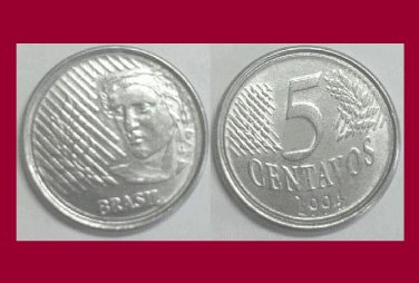 BRAZIL 1994 5 CENTAVOS COIN KM#632 South America - Tobacco and Coffee - BU - BEAUTIFUL!
