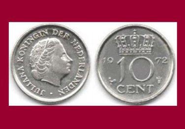 NETHERLANDS 1972 10 CENTS COIN KM#182 Europe - BU - Very Shiny! Beautiful!