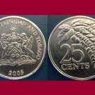 TRINIDAD AND TOBAGO 2005 25 CENTS COIN KM#32 Caribbean - BU BEAUTIFUL! - Chaconia Flower