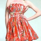 Strapless printed short prom dress bubble hemline c3059