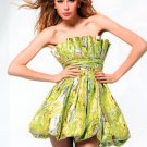 Green Strapless printed dress for prom or special occassion