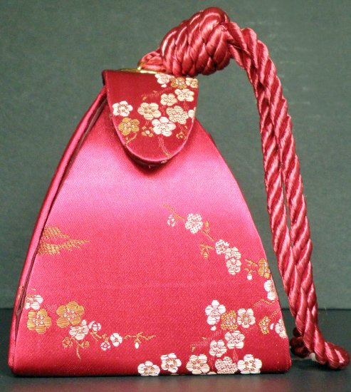 Silk  Triangle Evening Purse / Hand Bag in Red