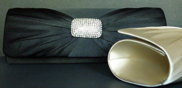 Black Satin Evening Hand Bag / Purse with rhinestones