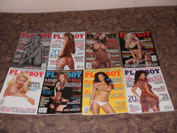 Playboy January to August 2007 lot - 8 Issues - Excellent Condition - Anna Nicole