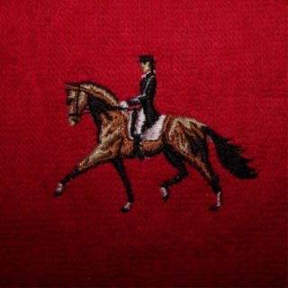 Embroidered hand towel Dressage horse & rider NEW