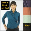 "ORGANIC cotton ""Criss-cross"" YOGA STYLE top BLACK flattering NEW, NWT Maggie's Organics SALE LARGE"
