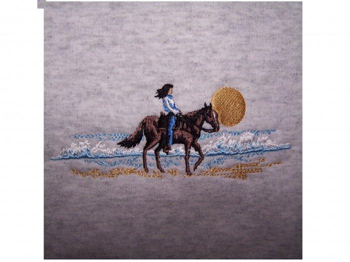 NEW Horse & Rider on Beach embroidered RENNOC sweatshirt