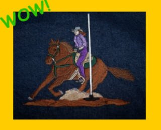 Horse POLE BENDER jean jacket LARGE for your Pole Bending equestrian Valentine