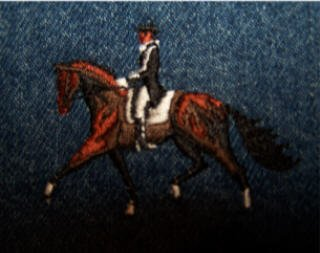 Dressage horse with African American rider embroidered LARGE denim jean jacket NEW equestrian