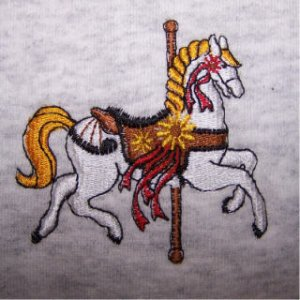 NEW sweatshirt CAROUSEL HORSE embroidery LARGE