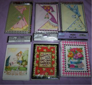 LOT of 6 different MARY ENGELBREIT notecard packs. 8 cards in each pack.