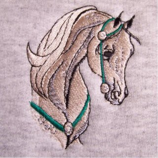 NEW Arabian horse embroidered half-zip sweatshirt with front pouch for hands SMALL