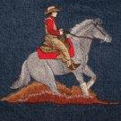 new WESTERN REINER HORSE Small jean jacket w black sleeves