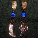 Handmade beaded bookmark with western boot and saddle charms horse fans will love