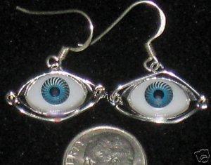 HANDMADE BLUE EYEBALL EARRINGS JEWELRY ONE OF A KIND