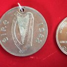 VINTAGE REVERSIBLE OLD IRISH COIN PENDANT HARP FISH