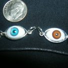 2 UNUSUAL EYEBALL PENDANTS NECKLACE BROWN BLUE RARE!