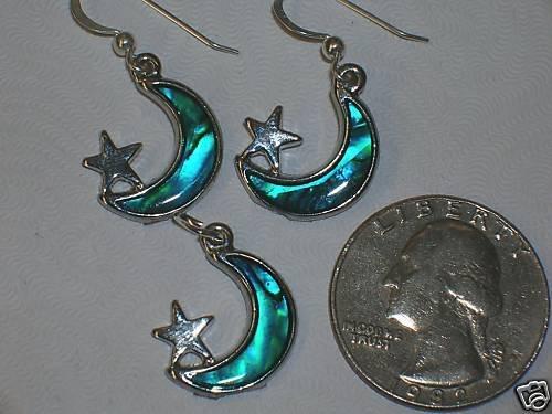 BLUE PAUA SHELL MOON STARS PENDANT EARRINGS SET CHARMS
