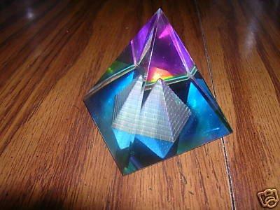 MYSTICAL LEAD CRYSTAL PYRAMID PRISM EGYPTIAN 50 MM