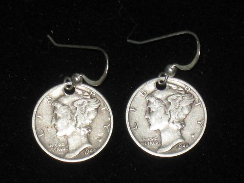 925 STERLING SILVER COIN MERCURY LIBERTY DIME EARRINGS