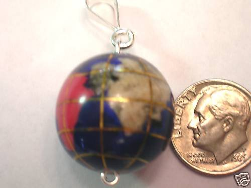 MEDIUM INLAY GEMSTONE GLOBE PENDANT NECKLACE JEWELRY SILVER